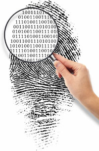 Photography showing a digital fingerprint seen with a magnifying glass